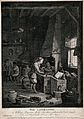 A young alchemist works a bellows at his furnace. Etching by Wellcome V0025545.jpg