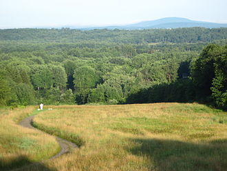 Thoreau walked 34 miles (55 km) to Mount Wachusett, shown here. Abbey and the mountain.JPG