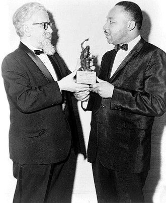 Abraham Joshua Heschel - Heschel, left, presenting the Judaism and World Peace Award to Martin Luther King Jr., December 7, 1965