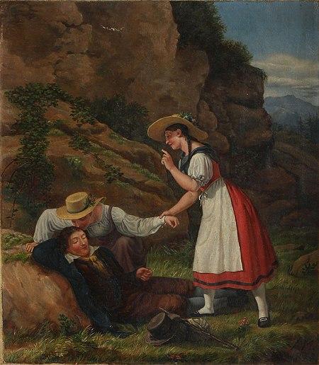 Adam August Müller - Sovende mand overvåget af to unge piger.jpg