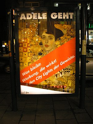 Maria Altmann - Poster in Vienna, bidding goodbye to the painting Adele Bloch-Bauer