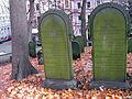 Adolph Meyer 1807-1866 Fanny Meyer geb. Königswarter 1804-1861 nebeneinanderliegende Grabsteine auf der Hügelkuppe Alter Jüdischer Friedhof an der Oberstraße Hannover Nordstadt, a1 Inschrift lateinisches Alphabet.JPG