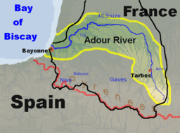 Map of the Adour River