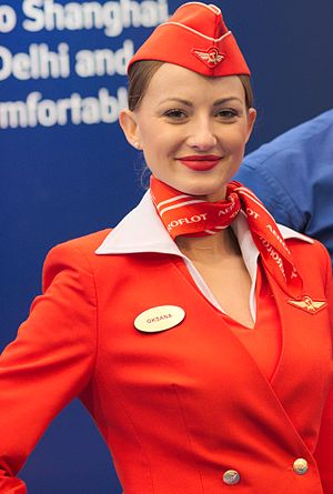 Slika:Aeroflot flight attendant (hostess).jpg