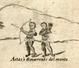 "Aeta people - Aetas as illustrated in Carta Hydrographica y Chorographica de las Yslas Filipinas, 1734. The caption in Spanish describes them as ""wild men of the mountains""."