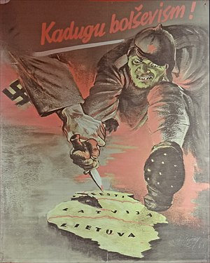 Anti-communism - Nazi anti-Bolshevik poster in German-occupied Estonia