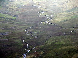 Afon Eigiau - Afon Eigiau flowing through Cwm Eigiau. Former slate workings are evident on the left.