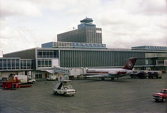 Edmonton International Airport - Airside terminal with an Air Canada DC-9-30 at a jet bridge gate in 1979