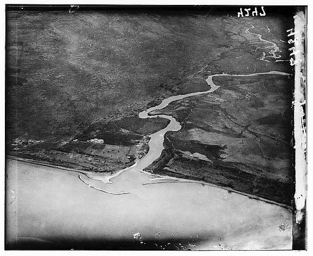 Air views of Palestine. Inflow of Jordan into Lake of Gennesaret. Northern end of the lake octoiber 1931