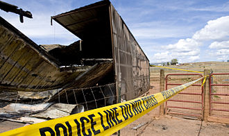 Barricade tape - Police tape marking off a crime scene