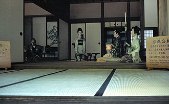 Daimyō - Daimyō Matsudaira Katamori visits the residence of a retainer. Mannequins in building in Aizuwakamatsu.