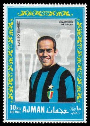 Luis Suárez (footballer, born 1935) - Suárez on a 1968 Ajman postage stamp