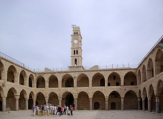 The Khan al-Umdan, constructed in Acre in 1784, is the largest and best preserved caravanserai in the region. Akko BW 13.JPG