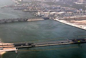 Floating Bridge, Dubai - Image: Al Maktoum Bridge and Floating Bridge on 8 May 2008