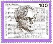 Hugo Distler on a German stamp, in 1992.