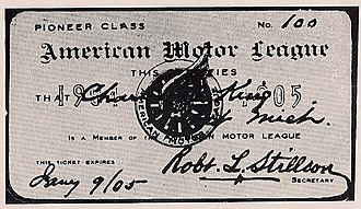 Chicago Times-Herald race - American Motor League membership card.