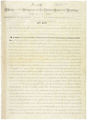District of Columbia Compensated Emancipation Act - Image: An Act of April 16, 1862 (For the Release of Certain Persons Held to Service or Labor in the District of Columbia), 04 16 1862, page 1