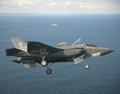 An F-35B Lightning II passes initial sea trials over the Atlantic