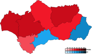 Andalusian regional election, 2000 - Image: Andalusia Province Map Parliament 2000