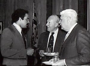 Louis L. Goldstein - Goldstein (m) with Delegate Curt Anderson (l) and Senator Harry McQuirk (r), Annapolis, 1983