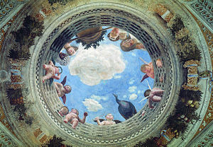 Illusionistic ceiling painting - Andrea Mantegna, Di sotto in sù ceiling fresco in the Camera degli Sposi of the Palazzo Ducale in Mantua.