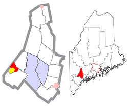 Location of Mechanic Falls (in red) in Androscoggin County and the state of Maine