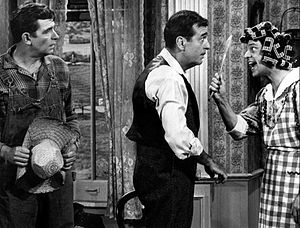 Don Knotts - On a 1967 Andy Griffith special, Knotts plays the outraged wife of Tennessee Ernie Ford, as Griffith looks on.