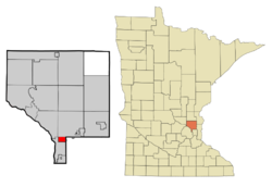 Location of the city of Spring Lake Park within Anoka and Ramsey Counties in the state of Minnesota