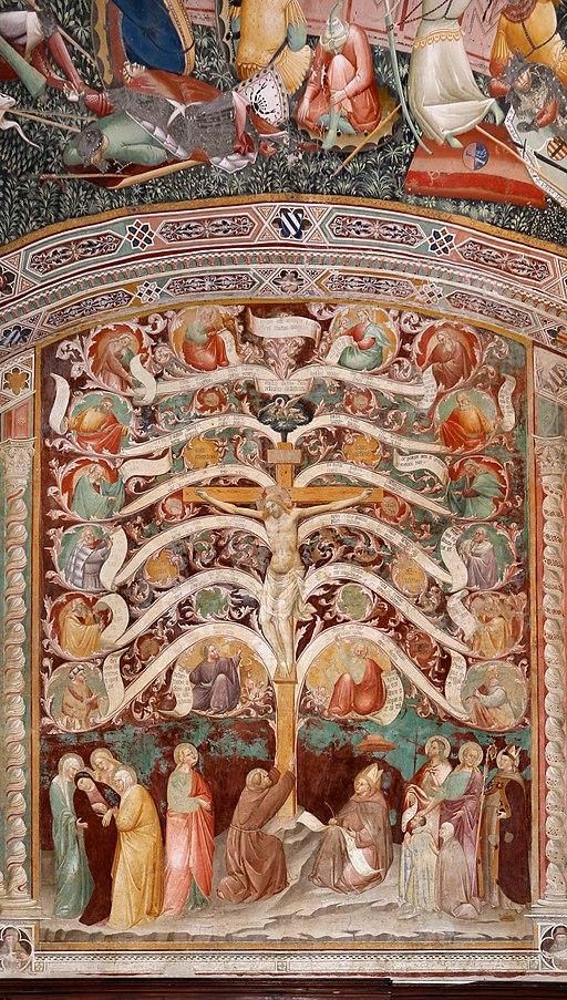 Antonio Vite e collaboratore, Arbor Vitae, trasfigurazione e miracolo della madonna della neve, 1390-1400 ca.