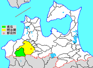 Nakatsugaru District, Aomori - Map showing original extent of Nakatsugaru District in Aomori Prefecture  green - current green/yellow - former extent in early Meiji period   1. -Nishimeya
