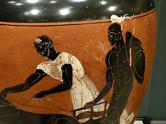 Panathenaic amphora - Image: Apobates race Getty Villa Collection
