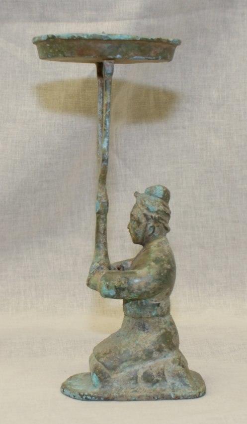 Archaic Bronze Candle Holder. Han Thru Warring States