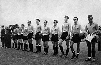 Argentina national football team - Argentina wearing the yellow jersey (of IFK Malmö) v. West Germany at the 1958 World Cup