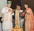 Arjun Ram Meghwal lighting the lamp at the release of a 'Compendium of CSR Best Practices in India', at Indian Institute of Corporate Affairs (ICAI), at IMT Manesar, Gurugram, Haryana.jpg
