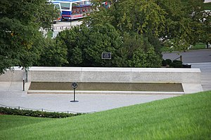 Grave of Robert F. Kennedy - Looking down from Custis Walk at the Robert F. Kennedy memorial. The grave is out of sight just below the hill.