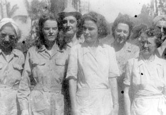 Angels of Bataan - Army Nurses in Santo Tomas, 1943. Left to right: Bertha Dworsky; Sallie Durrett; Earlene Black; Jean Kennedy; Louise Anchieks; Millei Dalton.
