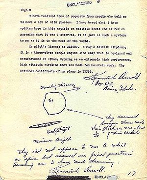 Kenneth Arnold UFO sighting - Kenneth Arnold's report to Army Air Forces (AAF) intelligence, dated July 12, 1947, which includes annotated sketches of the typical craft in the chain of nine objects.