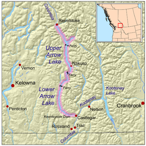 Arrow Lakes - Map highlighting the Arrow Lakes