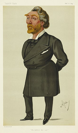"Arthur Otway - ""He killed the cat"". Otway as caricatured by Ape (Carlo Pellegrini) in Vanity Fair, February 1879."