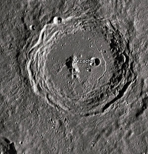 "Arzachel (crater) - Arzachel crater and its satellite craters taken from Earth in 2012 at the University of Hertfordshire's Bayfordbury Observatory with the telescopes Meade LX200 14"" and Lumenera Skynyx 2-1"