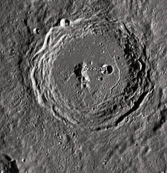"""Arzachel (crater) - Arzachel crater and its satellite craters taken from Earth in 2012 at the University of Hertfordshire's Bayfordbury Observatory with the telescopes Meade LX200 14"""" and Lumenera Skynyx 2-1"""