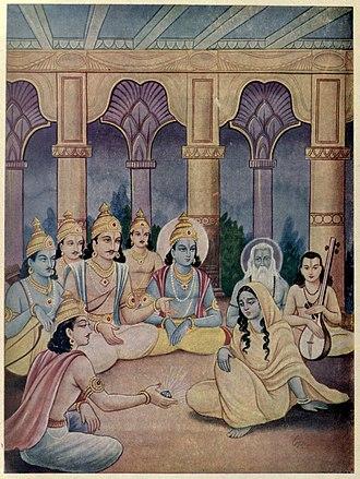 Sauptika Parva - Bhima brings Aswatthama's crown gem to Draupadi (shown). It is presented as proof of Aswatthama's defeat and justice delivered for the night massacre of Pandava's sons and thousands of people by Aswatthama.