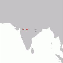 紅色為目前分佈,深灰色為歷史上有紀錄的分佈
