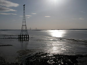 Aust Severn Powerline Crossing - Eastern pylon at Aust, photographed from the Severn Bridge