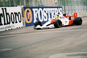 Ayrton Senna driving for McLaren at the 1991 U...