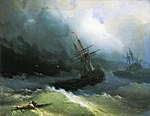 Ayvazovskiy. Ships at the raging sea (1866).jpg