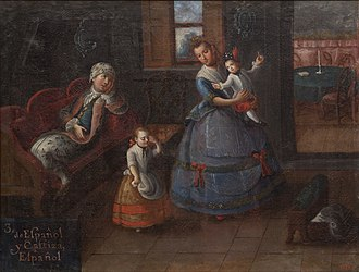 Castizo - Union: Spanish man (left) and a Castiza women (center): Spanish (children). (Painted in 1799)
