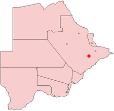 Location of Palapye in Botswana