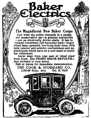Baker Motor Vehicle - Baker Electrics advertisement, The Washington Post, 19 October 1913