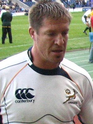 Bakkies Botha - Bakkies Botha, dressed in the Springbok change kit after a pre-match warm up.